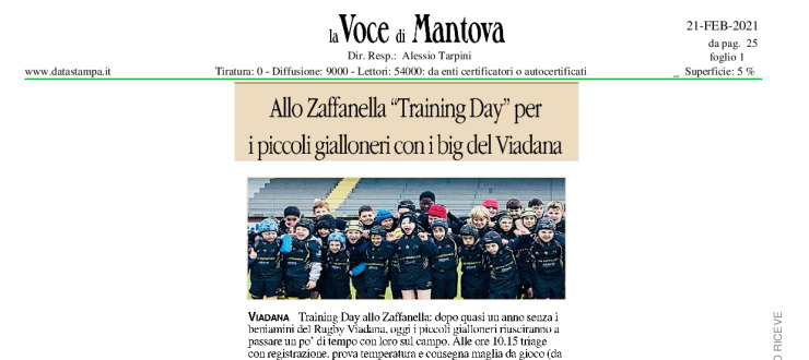 "Allo Zaffanella ""Training Day"" per i piccoli gialloneri con i big del Viadana"